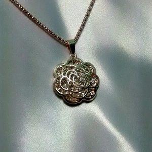 Betsey Johnson 3D Filigree Flower Necklace